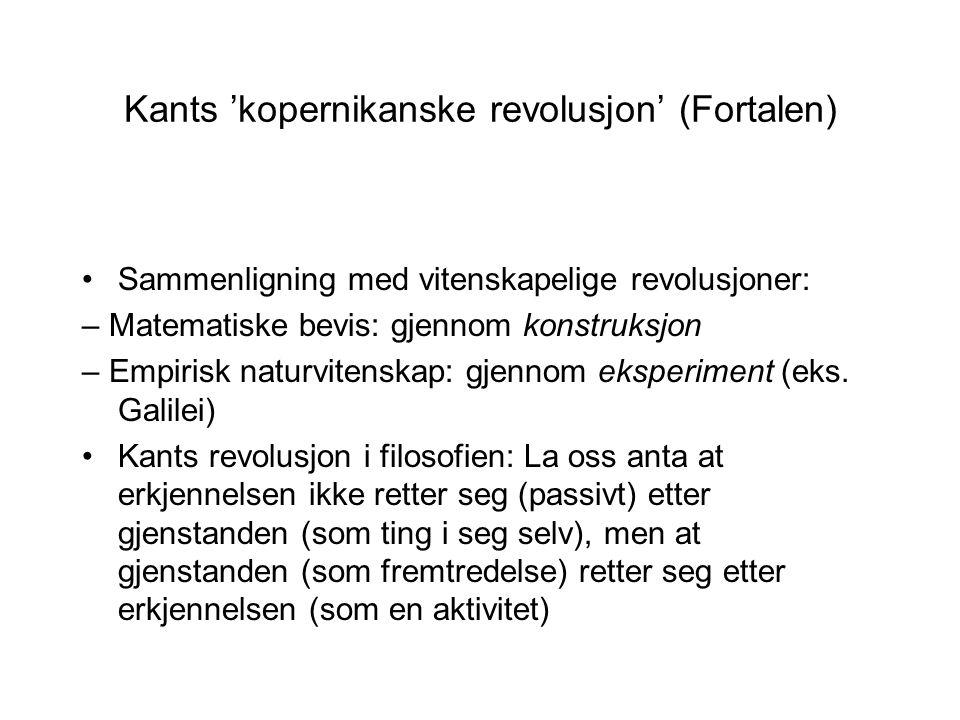 Kants 'kopernikanske revolusjon' (Fortalen) Sammenligning med vitenskapelige revolusjoner: – Matematiske bevis: gjennom konstruksjon – Empirisk naturv