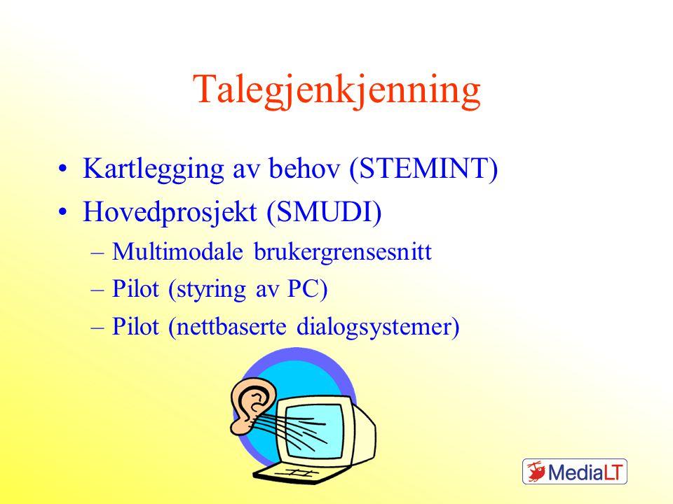 Talegjenkjenning Kartlegging av behov (STEMINT) Hovedprosjekt (SMUDI) –Multimodale brukergrensesnitt –Pilot (styring av PC) –Pilot (nettbaserte dialogsystemer)
