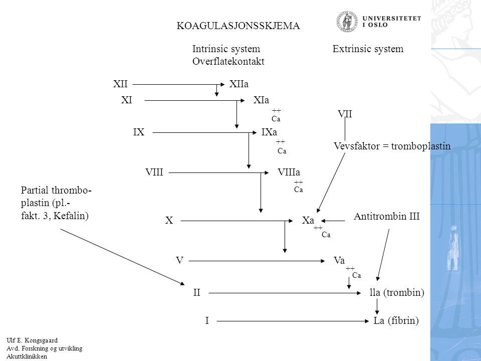 Felt for signatur (enhet, navn og tittel) KOAGULASJONSSKJEMA Intrinsic system Overflatekontakt Extrinsic system VII Vevsfaktor = tromboplastin Partial