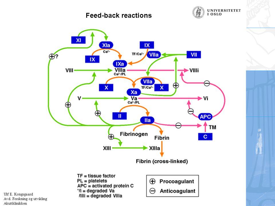 Feed-back reactions Ulf E. Kongsgaard Avd. Forskning og utvikling Akuttklinikken