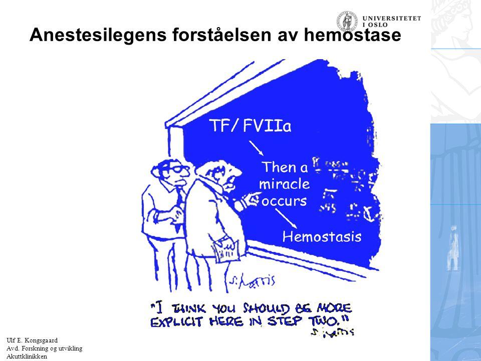 Felt for signatur (enhet, navn og tittel) Anestesilegens forståelsen av hemostase Ulf E. Kongsgaard Avd. Forskning og utvikling Akuttklinikken