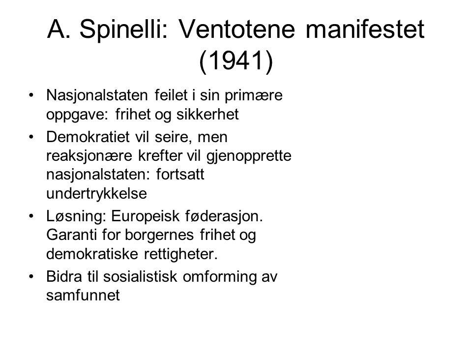 A. Spinelli: Ventotene manifestet (1941) Nasjonalstaten feilet i sin primære oppgave: frihet og sikkerhet Demokratiet vil seire, men reaksjonære kreft