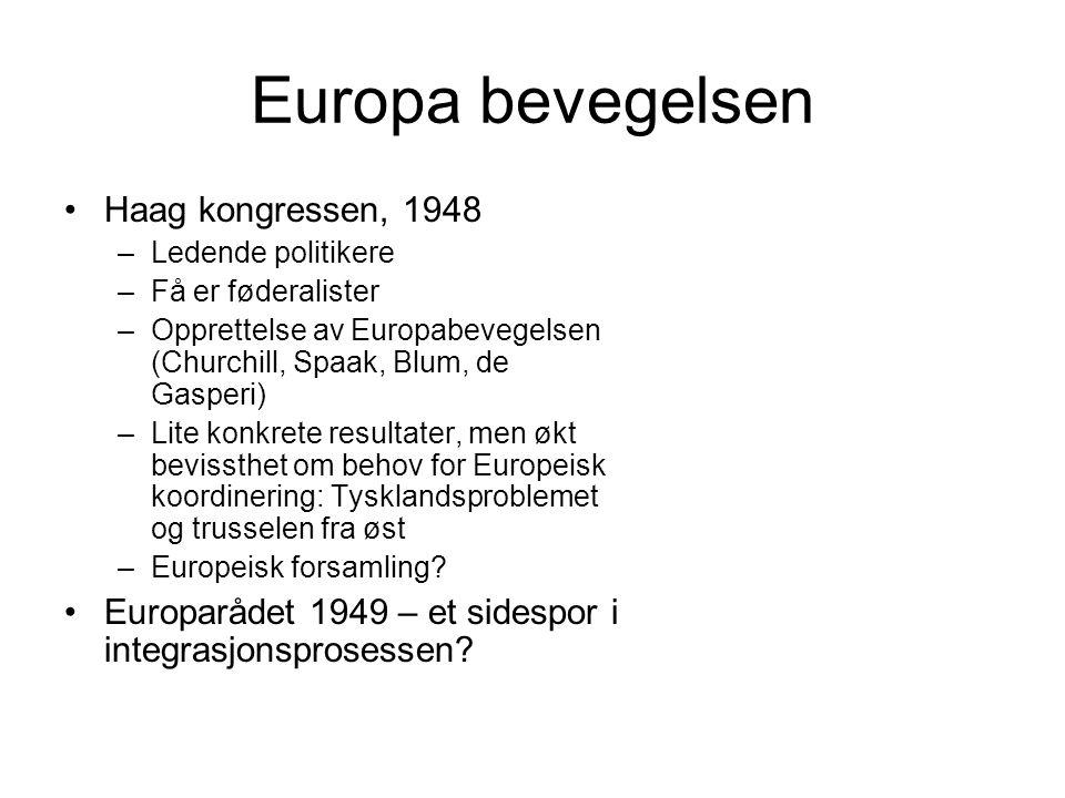 Europa bevegelsen Haag kongressen, 1948 –Ledende politikere –Få er føderalister –Opprettelse av Europabevegelsen (Churchill, Spaak, Blum, de Gasperi) –Lite konkrete resultater, men økt bevissthet om behov for Europeisk koordinering: Tysklandsproblemet og trusselen fra øst –Europeisk forsamling.
