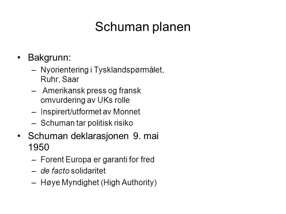 Schuman planen Bakgrunn: –Nyorientering i Tysklandspørmålet, Ruhr, Saar – Amerikansk press og fransk omvurdering av UKs rolle –Inspirert/utformet av Monnet –Schuman tar politisk risiko Schuman deklarasjonen 9.
