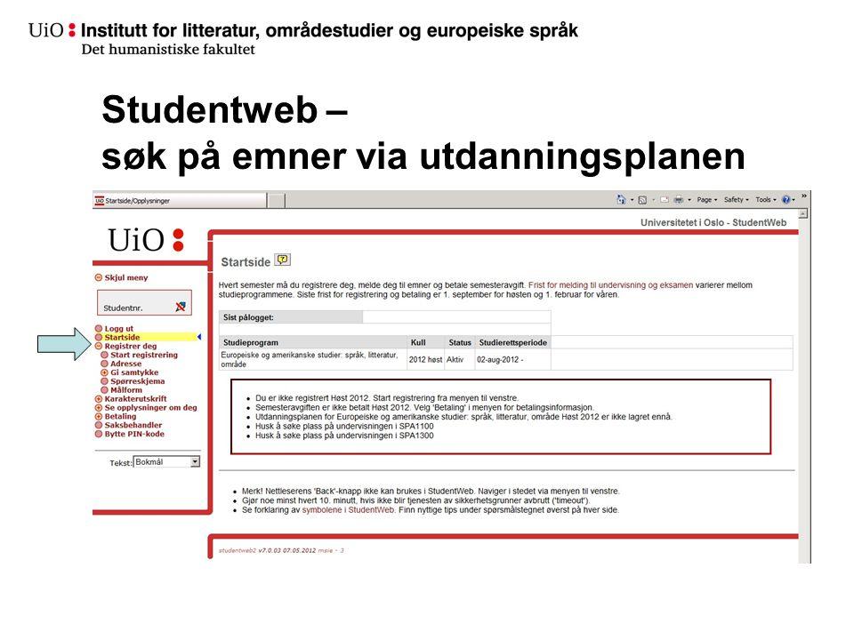 Studentweb – søk på emner via utdanningsplanen