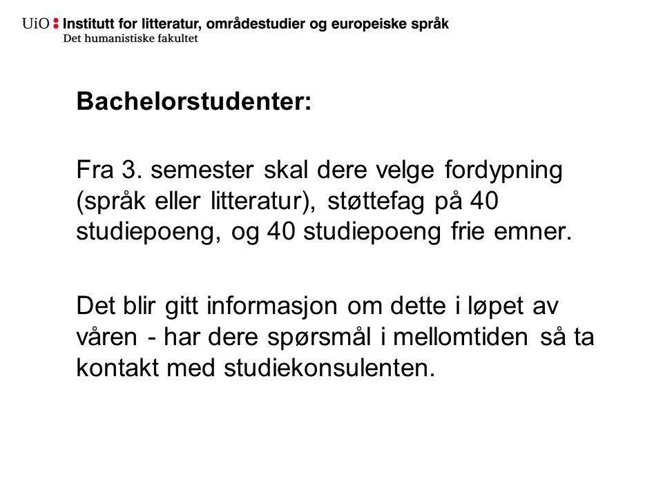 Bachelorstudenter: Fra 3.