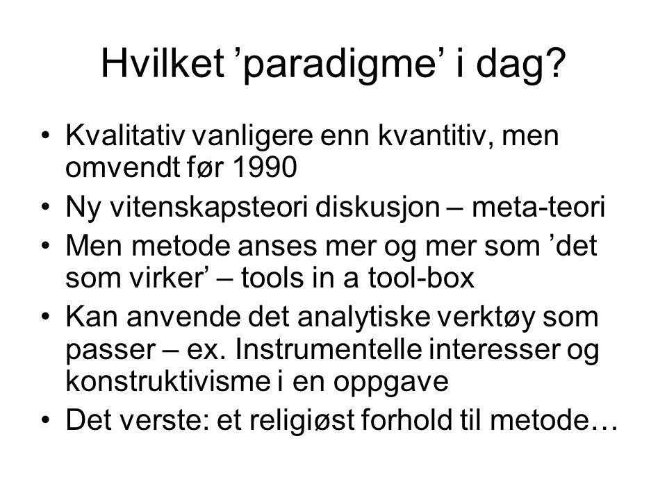 Hvilket 'paradigme' i dag? Kvalitativ vanligere enn kvantitiv, men omvendt før 1990 Ny vitenskapsteori diskusjon – meta-teori Men metode anses mer og