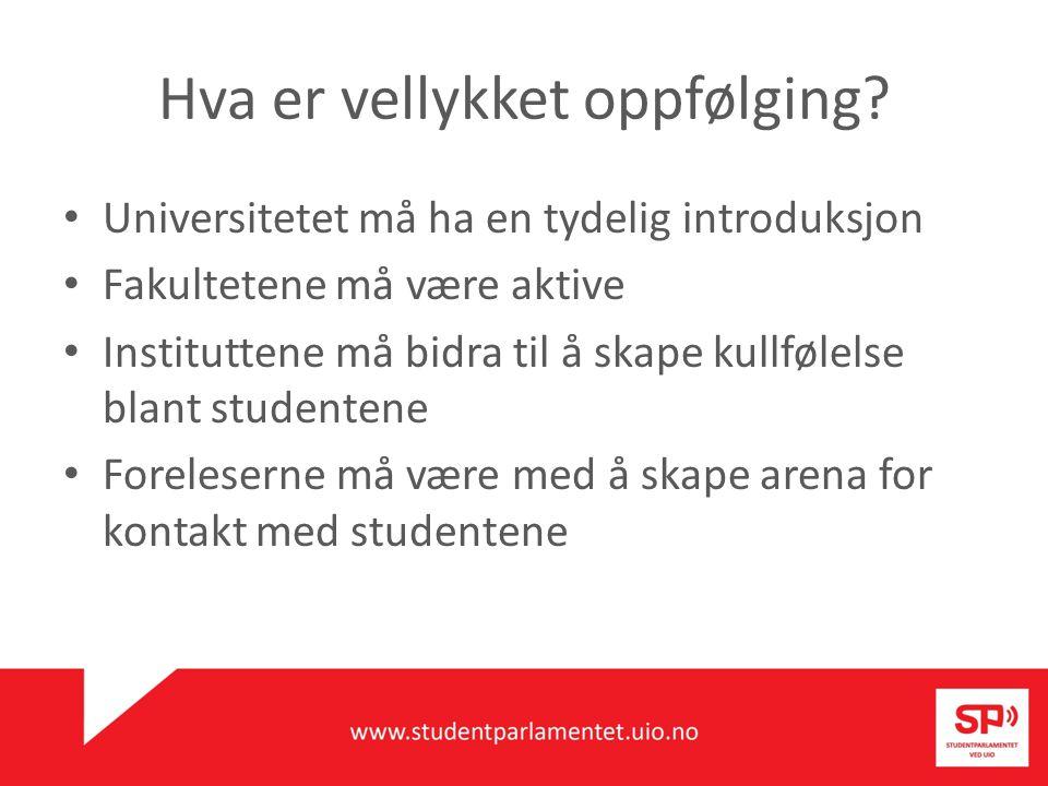 Universitetet må ha en tydelig introduksjon Fakultetene må være aktive Instituttene må bidra til å skape kullfølelse blant studentene Foreleserne må v