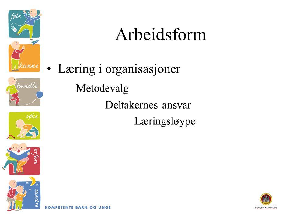 Arbeidsform Læring i organisasjoner Metodevalg Deltakernes ansvar Læringsløype