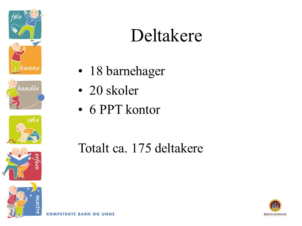 Deltakere 18 barnehager 20 skoler 6 PPT kontor Totalt ca. 175 deltakere