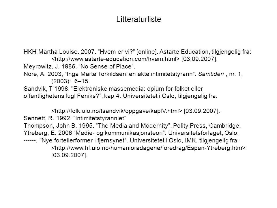 Litteraturliste HKH Märtha Louise. 2007. Hvem er vi? [online].