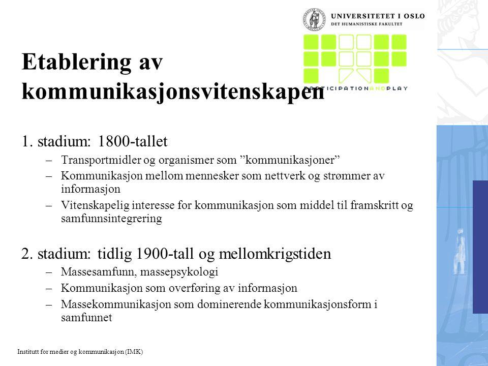 Institutt for medier og kommunikasjon (IMK) Etablering av kommunikasjonsvitenskapen 1.