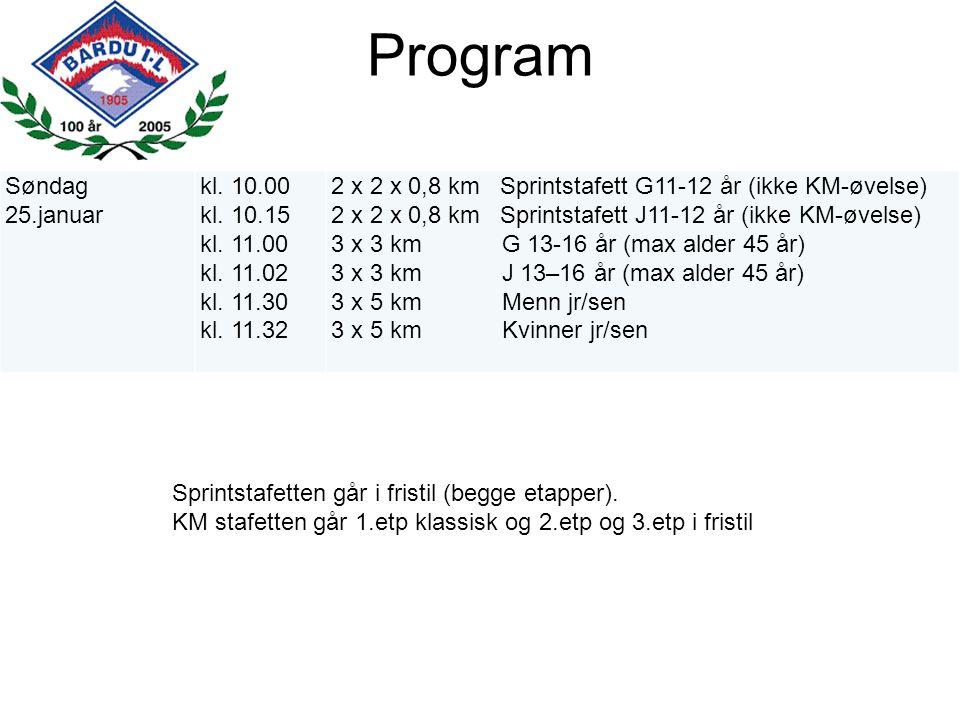 Program Søndag 25.januar kl. 10.00 kl. 10.15 kl. 11.00 kl. 11.02 kl. 11.30 kl. 11.32 2 x 2 x 0,8 km Sprintstafett G11-12 år (ikke KM-øvelse) 2 x 2 x 0