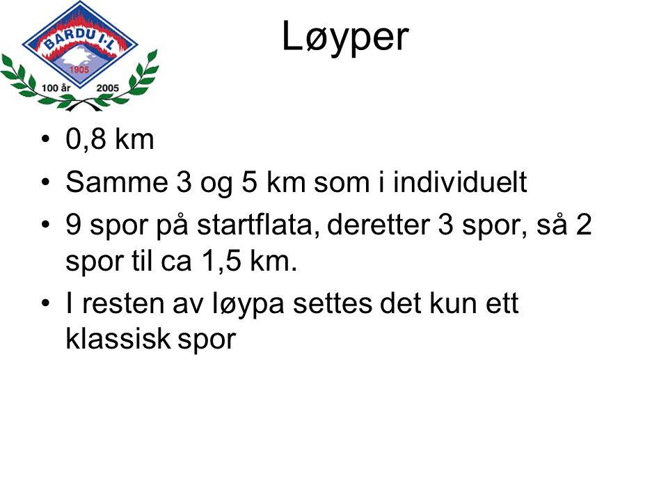 Løyper 0,8 km Samme 3 og 5 km som i individuelt 9 spor på startflata, deretter 3 spor, så 2 spor til ca 1,5 km. I resten av løypa settes det kun ett k