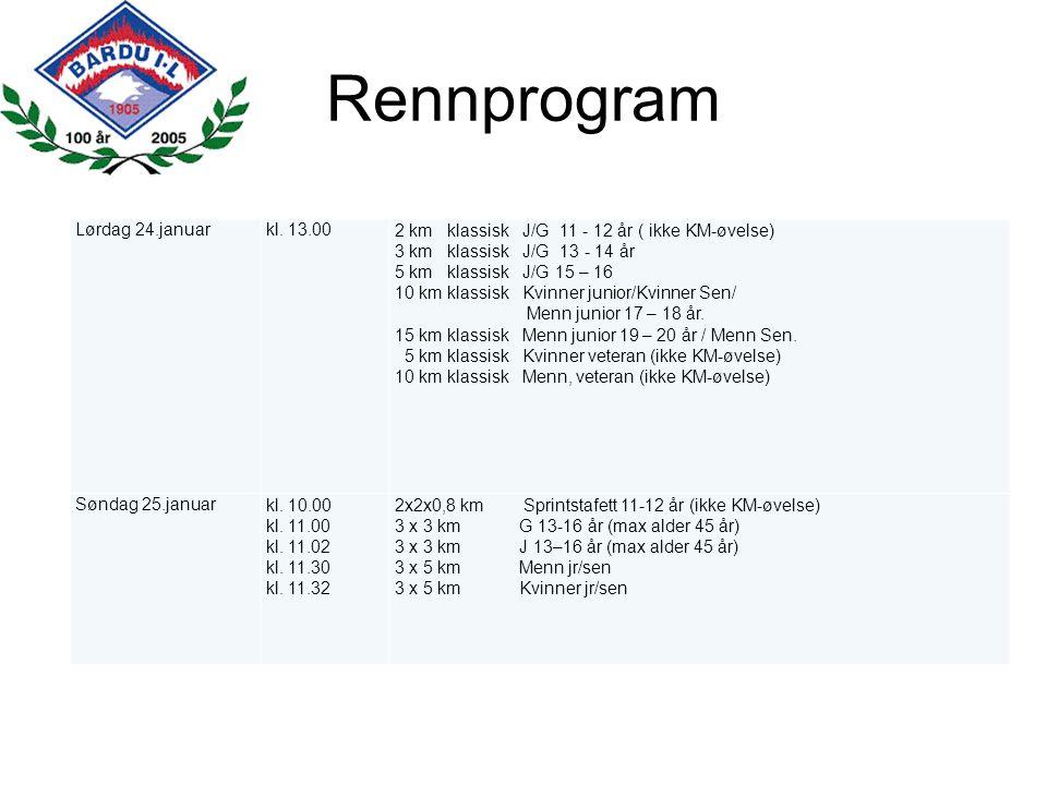 Rennprogram Lørdag 24.januarkl. 13.002 km klassisk J/G 11 - 12 år ( ikke KM-øvelse) 3 km klassisk J/G 13 - 14 år 5 km klassisk J/G 15 – 16 10 km klass