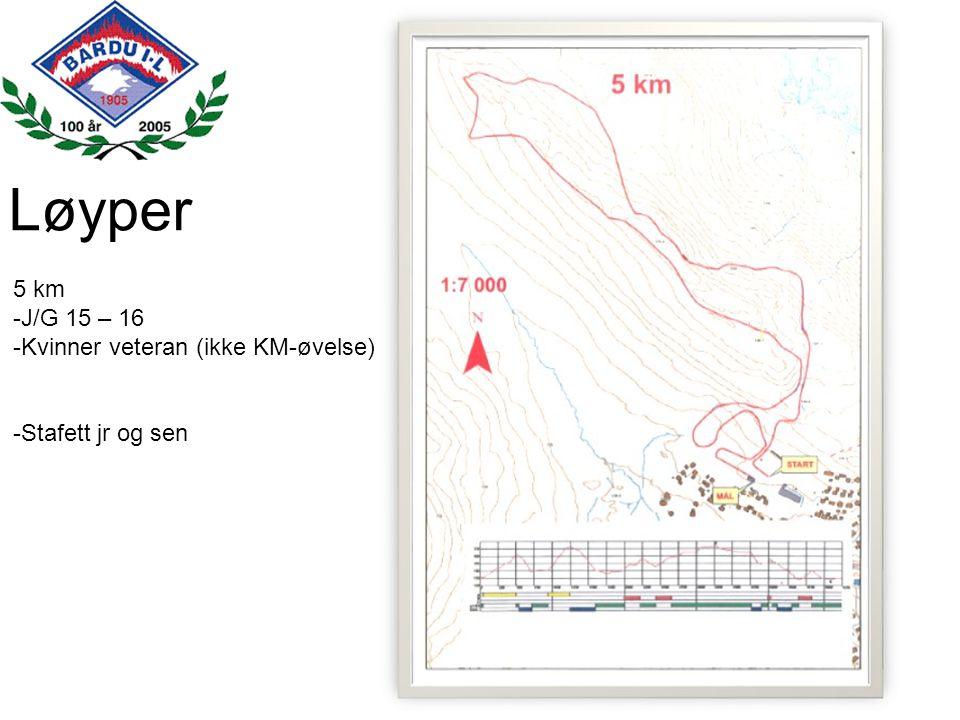 Løyper 5 km -J/G 15 – 16 -Kvinner veteran (ikke KM-øvelse) -Stafett jr og sen