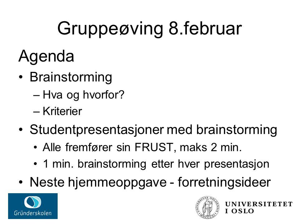 Gruppeøving 8.februar Agenda Brainstorming –Hva og hvorfor.