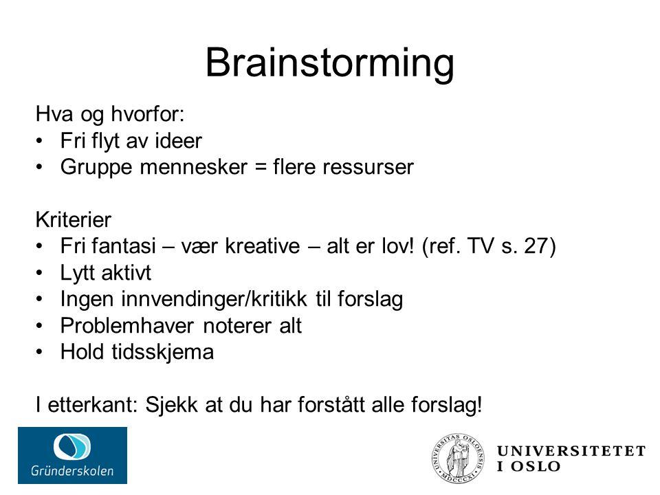 Brainstorming Hva og hvorfor: Fri flyt av ideer Gruppe mennesker = flere ressurser Kriterier Fri fantasi – vær kreative – alt er lov.