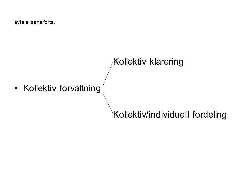 avtalelisens forts. Kollektiv forvaltning Kollektiv klarering Kollektiv/individuell fordeling