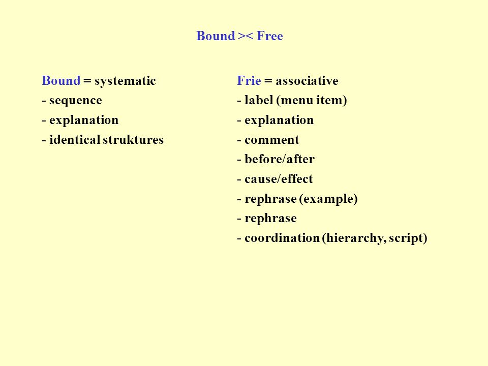 Bound = systematicFrie = associative - sequence- label (menu item)- explanation - identical struktures - comment - before/after - cause/effect - rephr