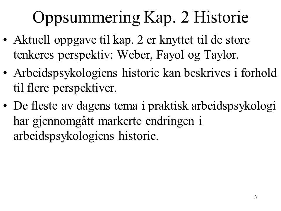 3 Oppsummering Kap. 2 Historie Aktuell oppgave til kap. 2 er knyttet til de store tenkeres perspektiv: Weber, Fayol og Taylor. Arbeidspsykologiens his