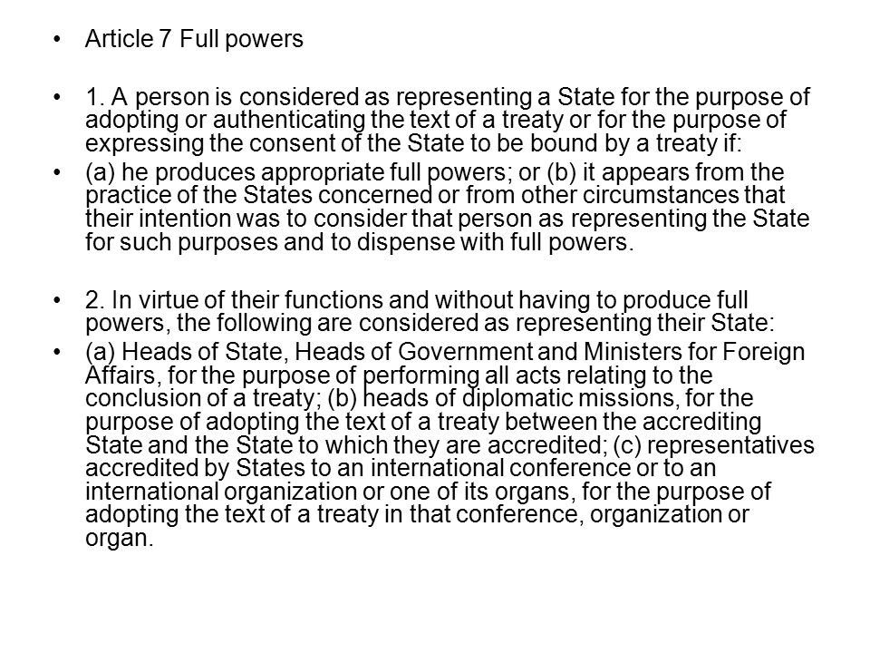Article 7 Full powers 1.