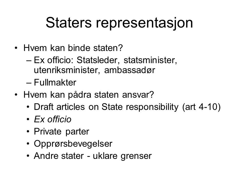 Staters representasjon Hvem kan binde staten? –Ex officio: Statsleder, statsminister, utenriksminister, ambassadør –Fullmakter Hvem kan pådra staten a