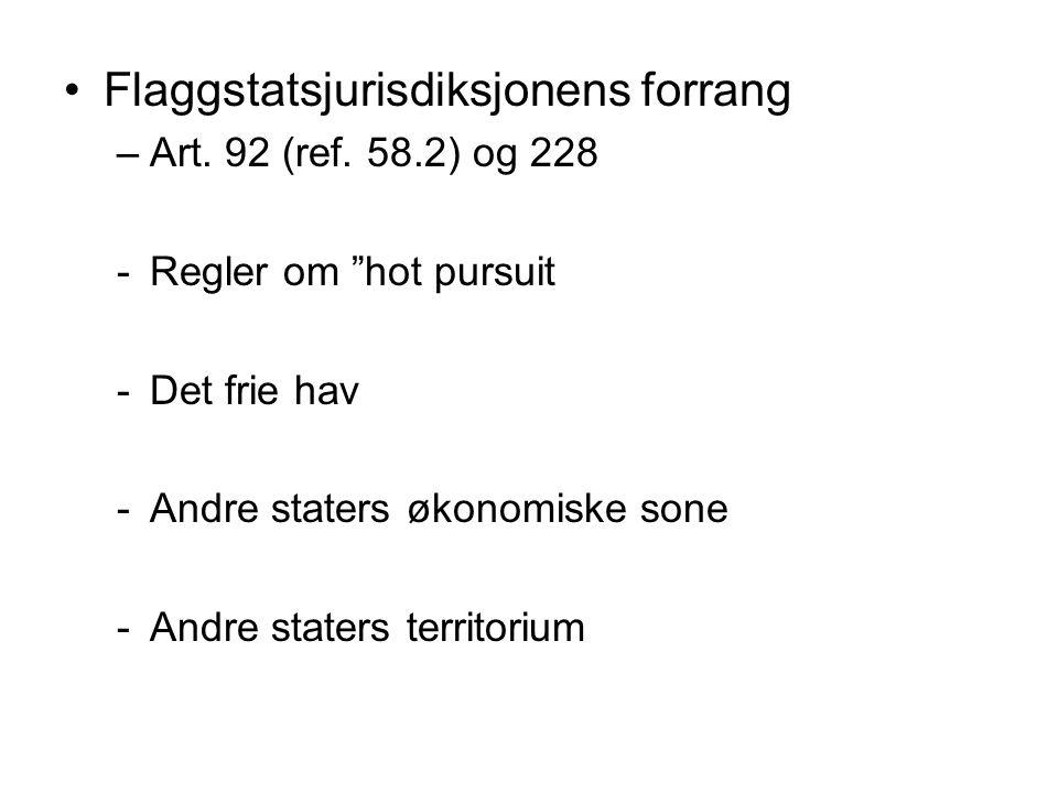 """Flaggstatsjurisdiksjonens forrang –Art. 92 (ref. 58.2) og 228 -Regler om """"hot pursuit -Det frie hav -Andre staters økonomiske sone -Andre staters terr"""