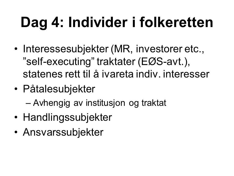 """Dag 4: Individer i folkeretten Interessesubjekter (MR, investorer etc., """"self-executing"""" traktater (EØS-avt.), statenes rett til å ivareta indiv. inte"""