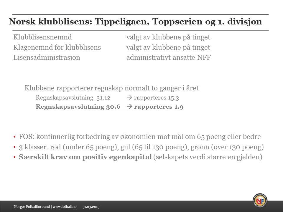 31.03.2015 Oppnå bærekraftig økonomi - og bli der Norges Fotballforbund | www.fotball.no Rød kategori i maks 3 år i løpet av en periode på 5 år