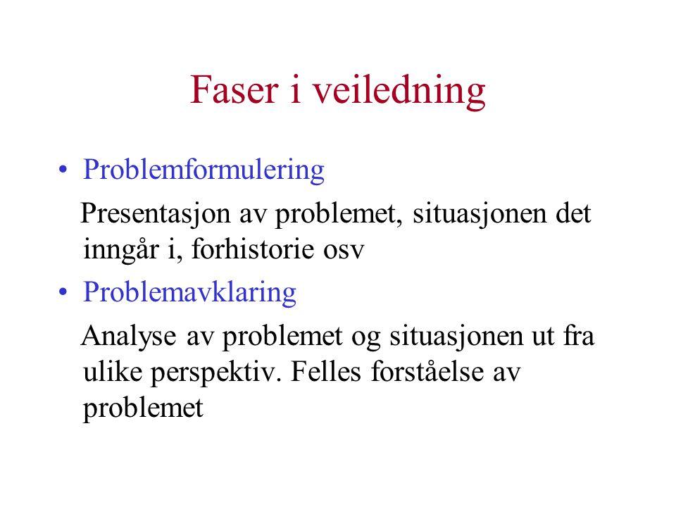 Faser i veiledning Problemformulering Presentasjon av problemet, situasjonen det inngår i, forhistorie osv Problemavklaring Analyse av problemet og situasjonen ut fra ulike perspektiv.