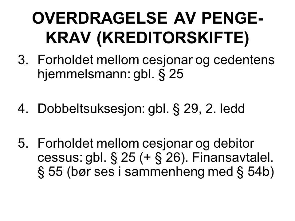 OVERDRAGELSE AV PENGE- KRAV (KREDITORSKIFTE) 3.Forholdet mellom cesjonar og cedentens hjemmelsmann: gbl.