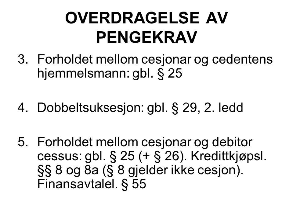 OVERDRAGELSE AV PENGEKRAV 3.Forholdet mellom cesjonar og cedentens hjemmelsmann: gbl.