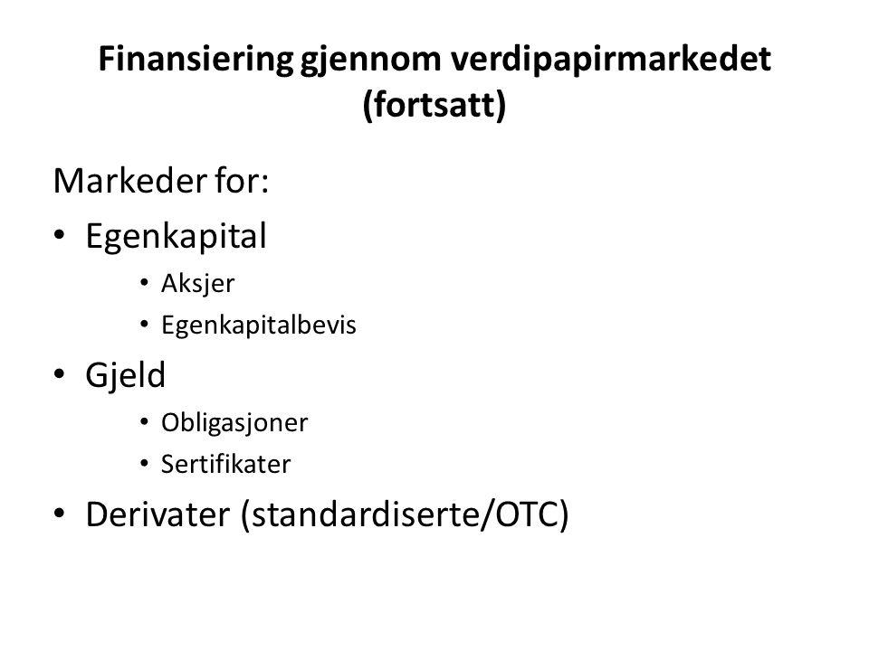 Finansiering gjennom verdipapirmarkedet (fortsatt) Markeder for: Egenkapital Aksjer Egenkapitalbevis Gjeld Obligasjoner Sertifikater Derivater (standardiserte/OTC)