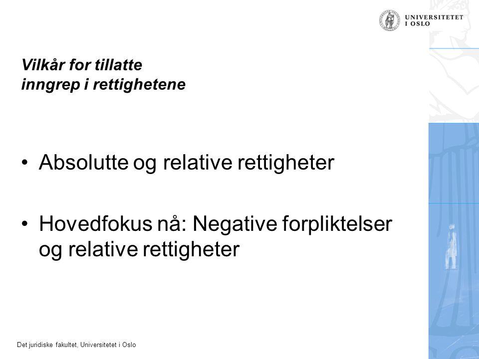 Det juridiske fakultet, Universitetet i Oslo Vilkår for tillatte inngrep i rettighetene Absolutte og relative rettigheter Hovedfokus nå: Negative forp