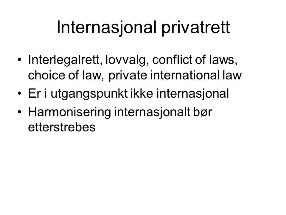 IPRs funksjon I et internasjonalt forhold er potensielt flere lands rettssystemer anvendbare Lovkonflikter løses ved bruk av lovvalgsregler IPR har ingen materiellrettslig regulering IPR har regler som utpeker hvilket lands materiell rett som bør anvendes
