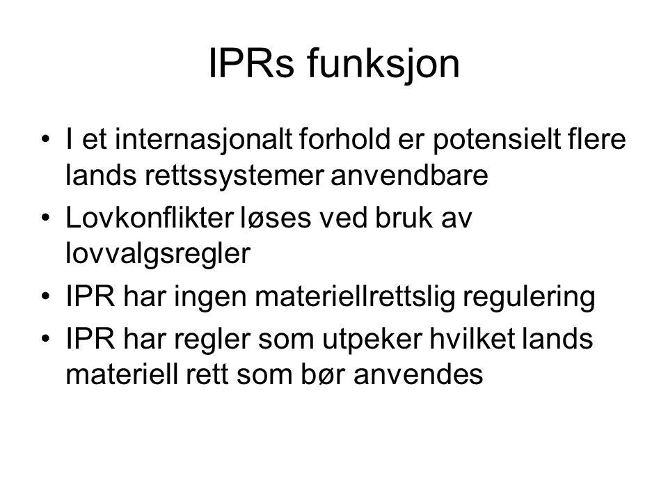 IPRs funksjon I et internasjonalt forhold er potensielt flere lands rettssystemer anvendbare Lovkonflikter løses ved bruk av lovvalgsregler IPR har in