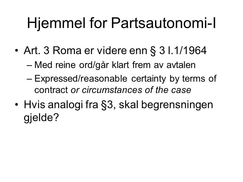 Hjemmel for Partsautonomi-I Art. 3 Roma er videre enn § 3 l.1/1964 –Med reine ord/går klart frem av avtalen –Expressed/reasonable certainty by terms o