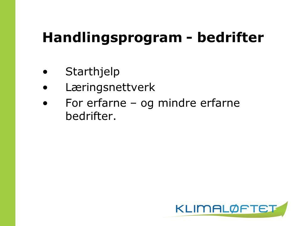 Handlingsprogram - bedrifter Starthjelp Læringsnettverk For erfarne – og mindre erfarne bedrifter.