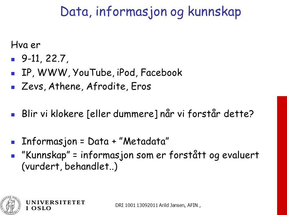 DRI 1001 13092011 Arild Jansen, AFIN, Data, informasjon og kunnskap Hva er 9-11, 22.7, IP, WWW, YouTube, iPod, Facebook Zevs, Athene, Afrodite, Eros B