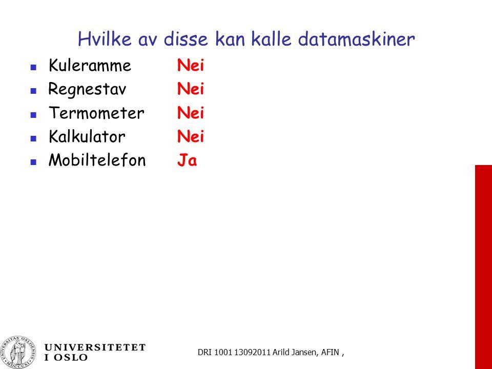 DRI 1001 13092011 Arild Jansen, AFIN, Formalisering: Hvordan representere data Komplekse (tegnbaserte) dataformater Sekvenser av tegn Fri tekst, minimal struktur, kan representeres på papir Hei , Barack Obama , 14.07.1789 , Formater og metadata Informasjon om meningen flyttes fra leserens hode til maskinen, f eks.