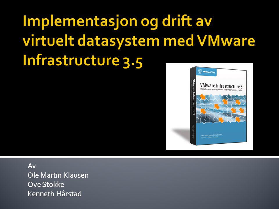 Problemstilling  Teknologien virtualisering  Vårt utgangspunkt en fiktiv bedrift  VMware Infrastructure 3.5 komponenter  Hvordan komponentene fungere sammen  Brukergrensesnittet (GUI)  Demo