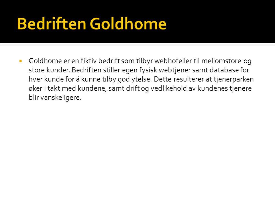  Goldhome er en fiktiv bedrift som tilbyr webhoteller til mellomstore og store kunder.