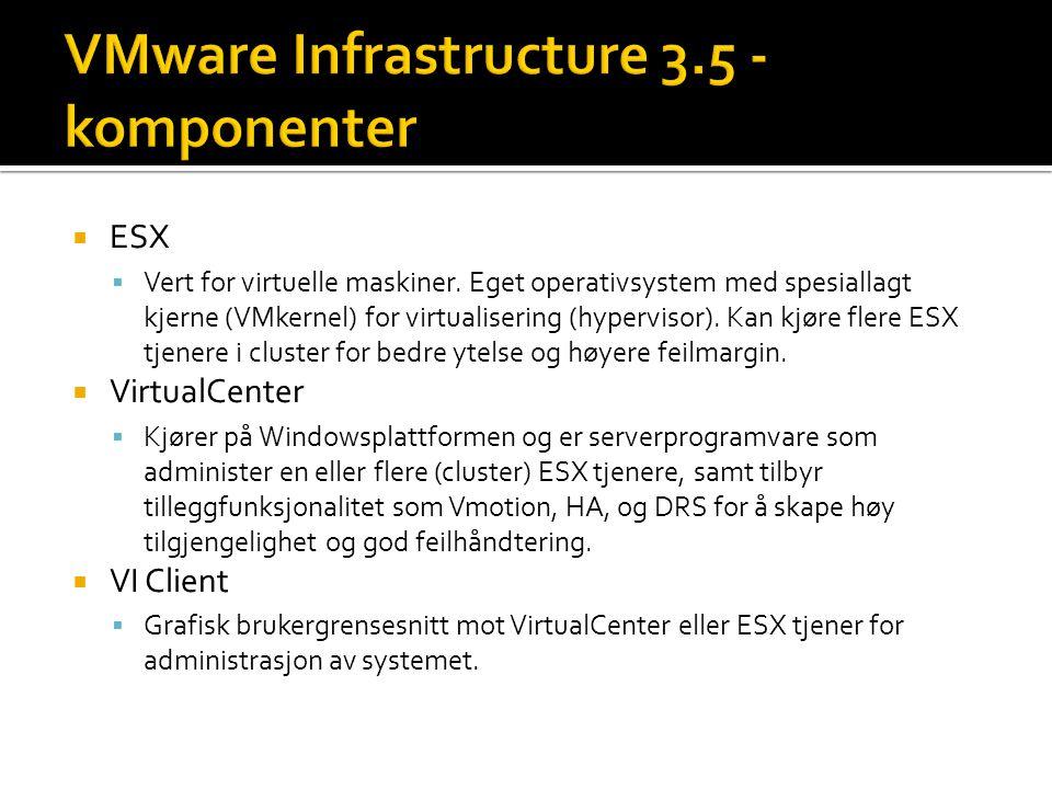  ESX  Vert for virtuelle maskiner.