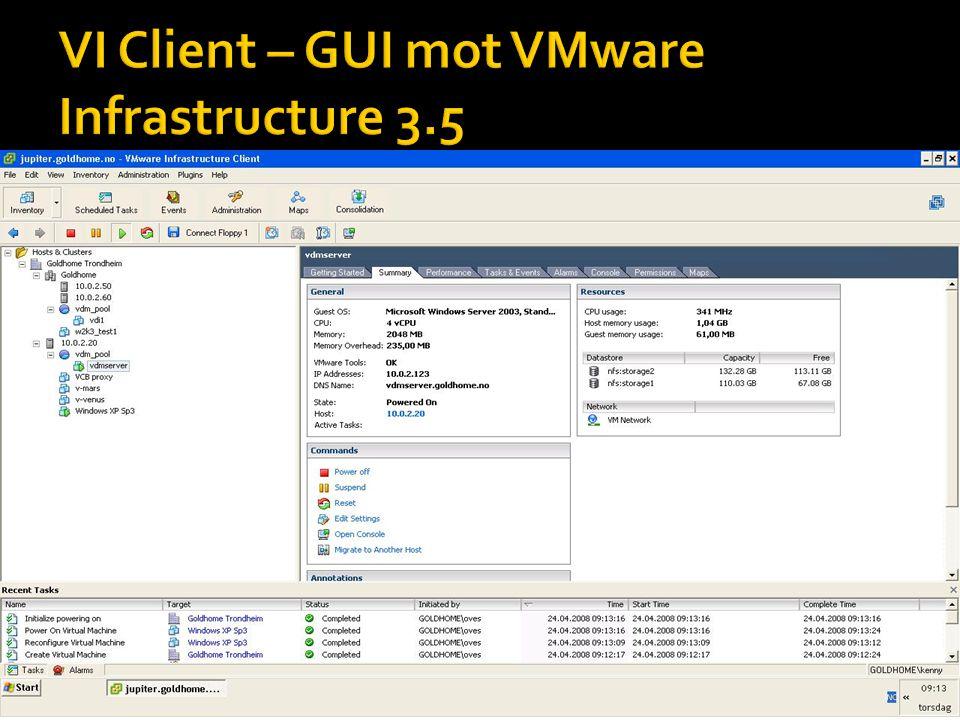  Viser en demo av HA og DRS/VMotion funksjonaliteten i VMware Infrastructure 3.5.