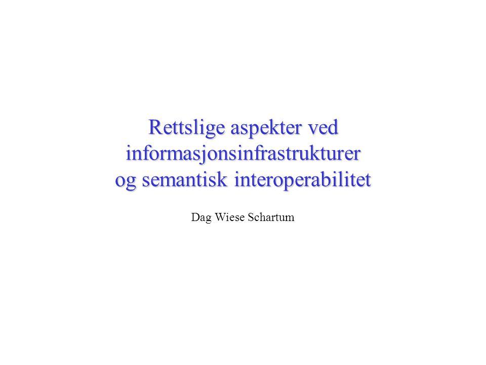 Rettslige aspekter ved informasjonsinfrastrukturer og semantisk interoperabilitet Dag Wiese Schartum