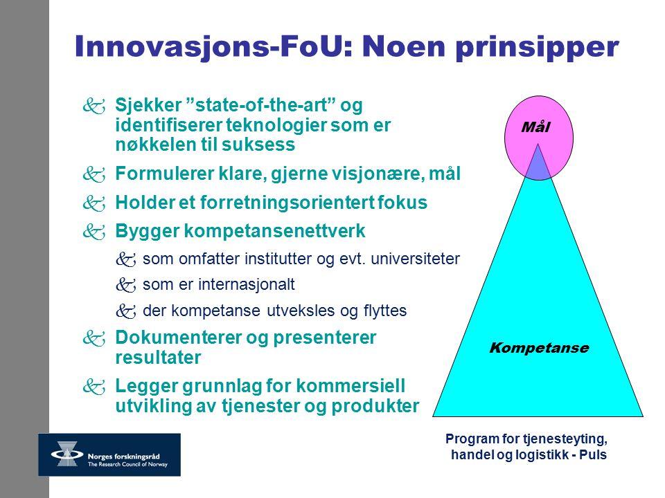 """Program for tjenesteyting, handel og logistikk - Puls Innovasjons-FoU: Noen prinsipper kSjekker """"state-of-the-art"""" og identifiserer teknologier som er"""