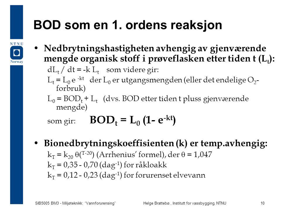 """SIB5005 BM3 - Miljøteknikk: """"Vannforurensing""""Helge Brattebø., Institutt for vassbygging, NTNU 10 BOD som en 1. ordens reaksjon Nedbrytningshastigheten"""