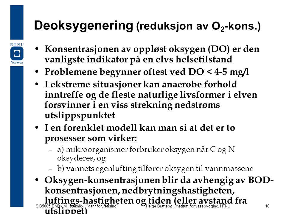 """SIB5005 BM3 - Miljøteknikk: """"Vannforurensing""""Helge Brattebø., Institutt for vassbygging, NTNU 16 Deoksygenering (reduksjon av O 2 -kons.) Konsentrasjo"""