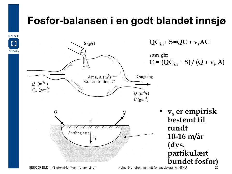"""SIB5005 BM3 - Miljøteknikk: """"Vannforurensing""""Helge Brattebø., Institutt for vassbygging, NTNU 22 Fosfor-balansen i en godt blandet innsjø v s er empir"""